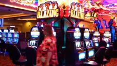 Blazing Neon Slot Machines Stock Footage
