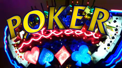 Neon Poker Sign Stock Footage