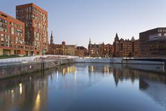 Stock Photo of Germany, Hamburg, Brooktorhafen and new buildings in Hafencity