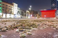 Germany, Hamburg, Hundrets of crown caps on the Spielbudenplatz, next to the - stock photo
