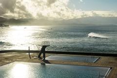 Portugal, Azores, Sao Miguel, Piscinas da Ribeira Grande at Atlantic coast - stock photo