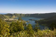 Portugal, Azores, Sao Miguel, Lagoa Azul and Lagoa Verde - stock photo