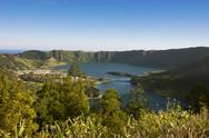 Stock Photo of Portugal, Azores, Sao Miguel, Lagoa Azul and Lagoa Verde