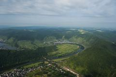 Germany, Rhineland-Palatinate, aerial view of Moselle Loop at Bremm Stock Photos