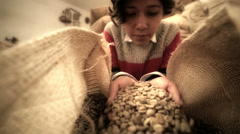 Girl smelling coffee Stock Footage