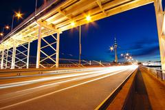 highway under the bridge in macao - stock photo