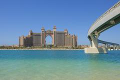 Dubai, The Palm Jumeirah, view to Atlantis resort and bridge Stock Photos