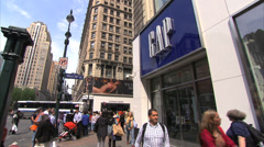 Gap Store in Herald Square. Gap Store NYC. Gap Store Summer Months. Stock Footage