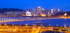 Macau cityscape of bridge and skyscraper Macao, Asia. - stock photo