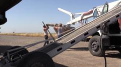 California Rice Farming truck boom Stock Footage