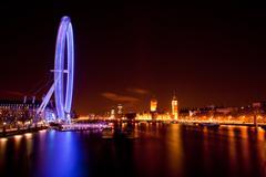 London Eye and Big ben at Night - stock photo
