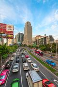 traffic jam on a modern city in rush hour - stock photo