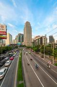 Traffic jam on a modern city in rush hour Stock Photos