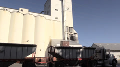 California Rice Farming, grainery  and silo zoom in Stock Footage