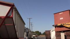 California Rice Farming, grainery  and silo Stock Footage