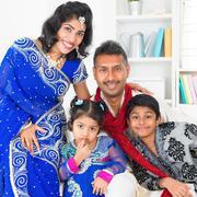 Asian indian family at home Stock Photos
