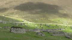 Cleits and abandoned Village Hirta St Kilda Scotland - stock footage