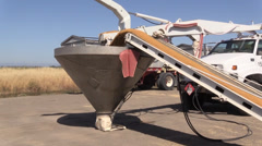 California Rice Farming, conveyor belt Stock Footage