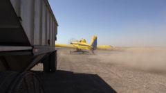 California Rice Farming, airplane planting Stock Footage