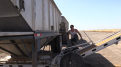 California Rice Farming ,cleaning the transport truck Stock Footage