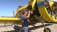 California Farming,  Crop duster mechanic Stock Footage