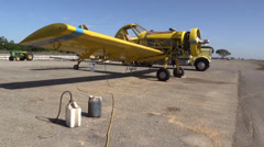 California Farming,  Crop duster oil change Stock Footage