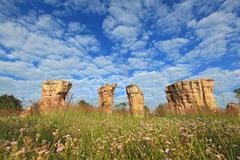 Mor Hin Khao, Thailand stonehenge, with beautiful field Stock Photos