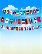 world bunting flags on blue sky. vector illustration - stock illustration