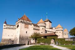 closeup of Chateau de Chillon, Montreux Switzerland - stock photo