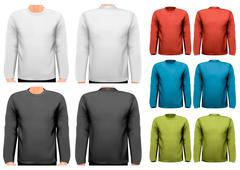 long sleeved shirts with sample text space. vector. - stock illustration