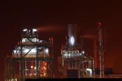 Petrochemical oil refinery tank Stock Photos