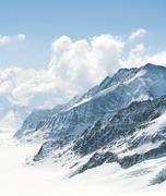 Aletsch Glacier Switzerland Alps - stock photo