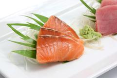 Salmon sashimi isolated in white background Stock Photos