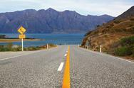 Stock Photo of perspective of highway road freeway to lake Hawea in Wanaka New