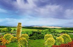 The Pisa Tower in the countryside - stock illustration