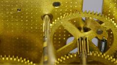 4K macro clock gears mechanism 8x2 Stock Footage