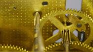 Stock Video Footage of 4K macro clock gears mechanism 8x2