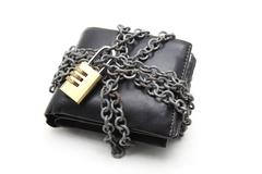 Stock Photo of black leather wallet with numeric pad lock