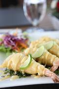 Fry shrimp with lime sauce Stock Photos