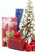 Set of holiday boxes with christmas tree and ornament Stock Photos