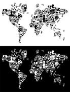 Social media network icons in World map figure Stock Photos