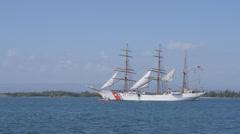 US Coast Guard schooner school ship the EAGLE entering San Juan Ha - Puerto Rico Stock Footage