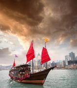 Aqua luna sailing ship crossing the hong kong-kowloon strait Stock Photos
