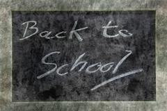 Stock Photo of grunge chalkboard or blackboard with text Back to School