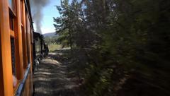 Steam Engine railroad forest Colorado POV HD 117 Stock Footage