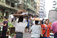 Trading activities at the downtown yangon market. this is a local market in t Stock Photos