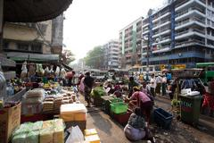 trading activities at the downtown yangon market. this is a local market in t - stock photo