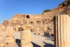 Ephesus ruins in turkey - stock photo