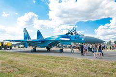 Radom, poland - august 25: ukrainian su-27 demo display team during air show Stock Photos