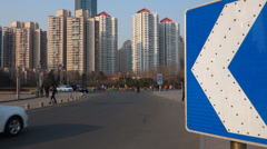 traffic and residential, Qingdao - stock footage